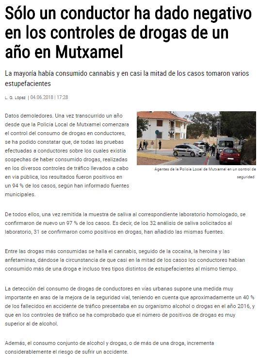 noticia control de drogas del diario Levante