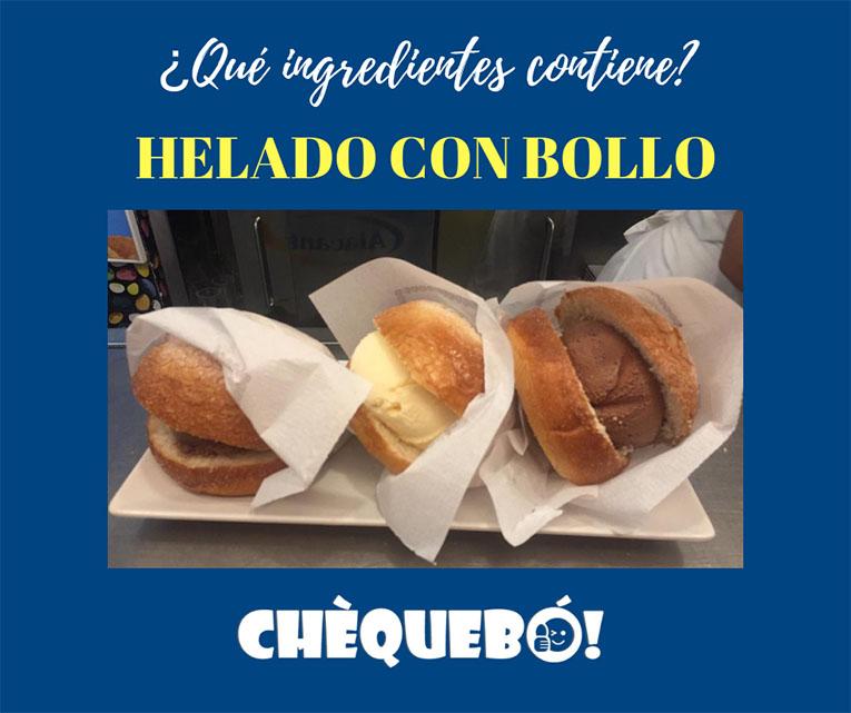 Postre típico de las heladerías Alicantinas: Helado con bollo.