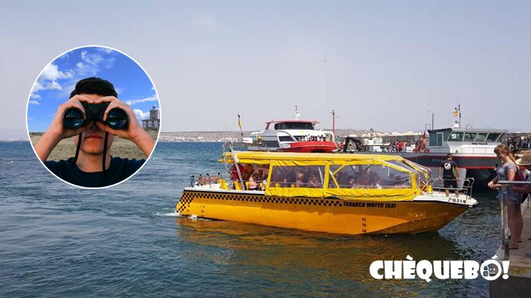 Vista de un water taxi llegando a Tabarca